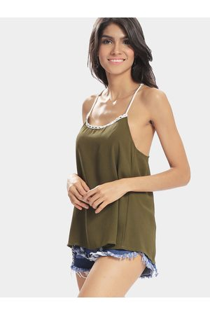 YOINS Women Camisoles - Green Sexy Solid Color Crochet Details Camis