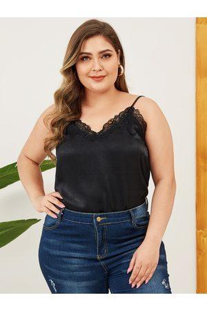 YOINS Women Camisoles - Plus Size Black Lace Patchwork Satin Cami