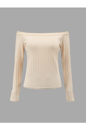 YOINS Women Long Sleeve - Apricot Sexy Off-shoulder Ribbed Body-con Top