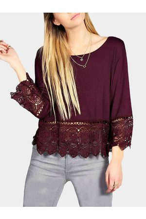 YOINS Women Tops - Crochet Lace Hem Swing Top