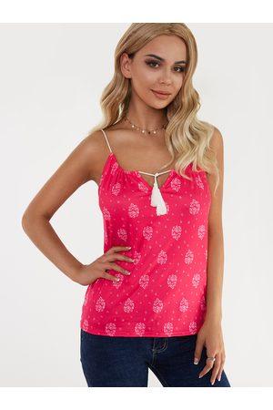 YOINS Women Camisoles - Floral Print Lace-up Design Drawstring Round Neck Camis
