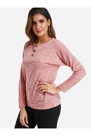 YOINS Women Long Sleeve - Button Design Round Neck Long Sleeves Top