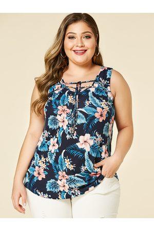 YOINS Women Camisoles - Plus Size Floral Print V-neck Lace-up Design Vest
