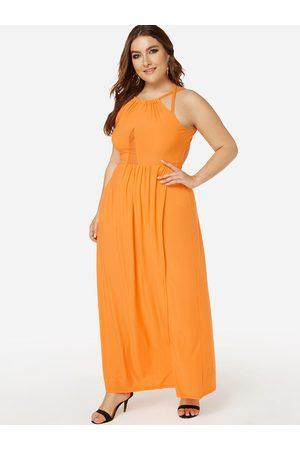 YOINS Women Halterneck Dresses - Plus Size Backless Halter Slit Hem Dress