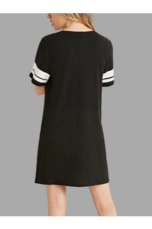 YOINS Women Short Sleeve - Round Neck Short Sleeves Tees Dress