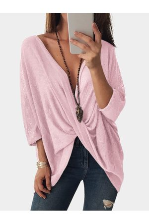 YOINS Women Blouses - Crossed Front Design V-neck Bat Sleeves Blouses