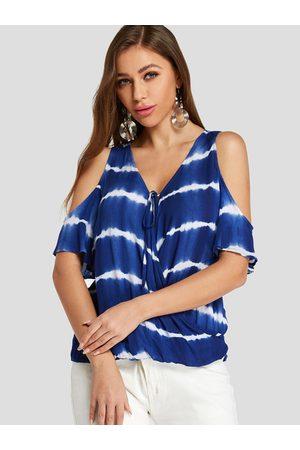 YOINS Women Blouses - Crossed Front Design Tie Dye Stripe Cold Shoulder Blouse