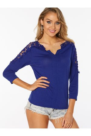 YOINS Women Long Sleeve - Lace Insert See Through V-neck Long Sleeves T-shirts