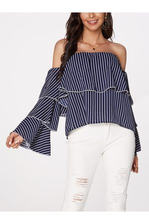 YOINS Stripe Off Shoulder Flared Sleeves Tiered Blouse