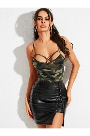 YOINS Women Camisoles - Army Green Camo Criss-cross Design Cami
