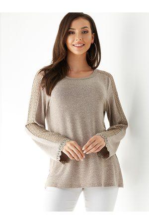 YOINS Women Tops - Coffee Crochet Lace Embellished Knit Top