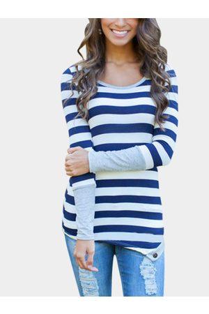 YOINS Women Long Sleeve - Blue Stripe Asymmetric Long Sleeve Top With Grey Cuffs