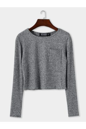 YOINS Women Long Sleeve - Pocket Design Round Neck Long Sleeves Knitted Top