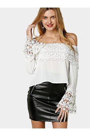 YOINS Women Tops - Off Shoulder Long Sleeves Lace Trim Top