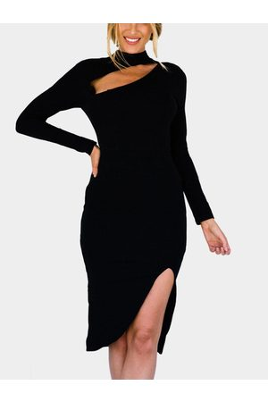 YOINS Women Midi Dresses - Sexy Long Sleeves Side Slit Dress with Cut Out Design