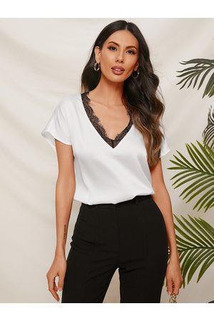 YOINS Women Short Sleeve - White Lace Trim V-neck Short Sleeves Satin Tee