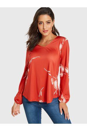 YOINS Women Blouses - Floral Print V-neck Long Sleeves Blouse
