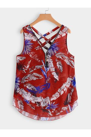 YOINS Women Tank Tops - Plus Size Criss-cross Leaf Print Zip Front Tank