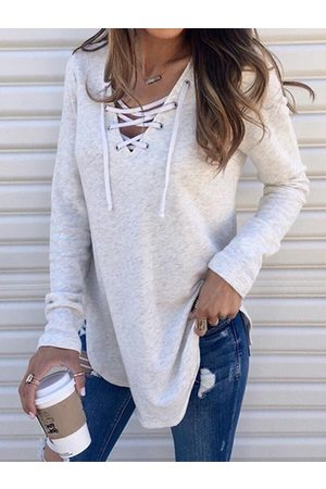 YOINS Women Long Sleeve - Lace-up Design V-neck Long Sleeves Tee