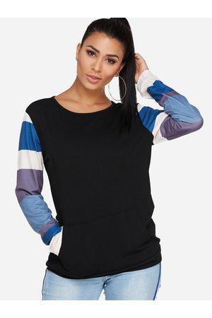 YOINS Women Long Sleeve - Stripe Round Neck Long Sleeves Big Pocket Sweatshirt