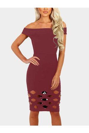YOINS Women Bodycon Dresses - Hollow Design Off Shoulder Bodycon Dress