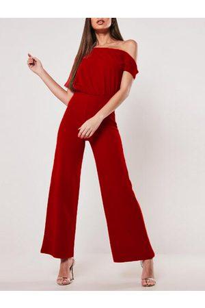 YOINS Women Short Sleeve - Belt Design Short Sleeves One Shoulder Jumpsuit