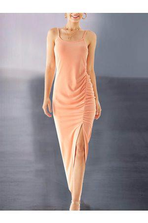 YOINS Women Maxi Dresses - Split Design Ruched Sleeveless Dress