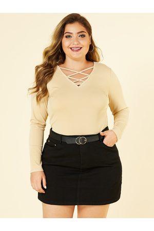 YOINS Women Long Sleeve - Plus Size Lace Up Design Knit Tee