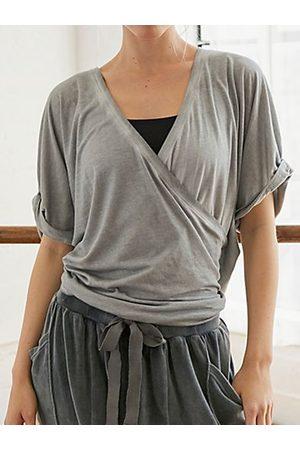 YOINS Grey Criss-cross V-neck Short Sleeves Tee