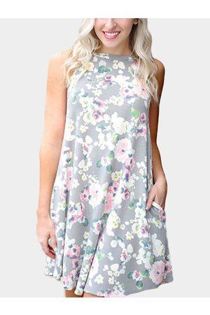 YOINS Women Printed Dresses - Random Floral Print Cut Out Mini Dress