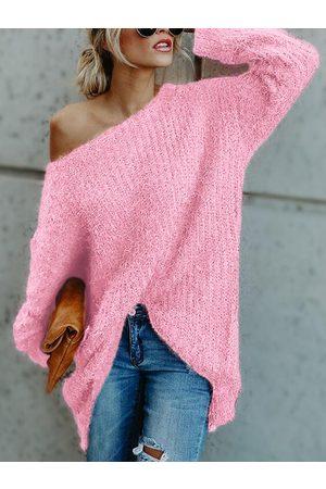 YOINS Women Long Sleeve - One Shoulder Long Sleeves Loose Sweater
