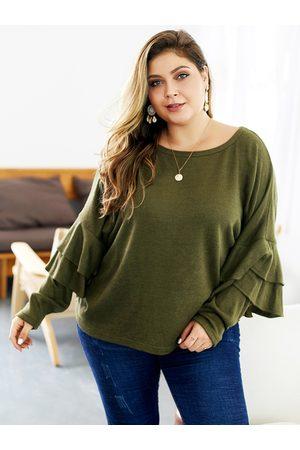 YOINS Women Long Sleeve - Plus Size Round Neck Long Sleeves Sweater
