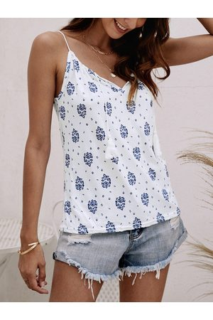YOINS Women Camisoles - White Calico Lace-up Design Drawstring Round Neck Cami