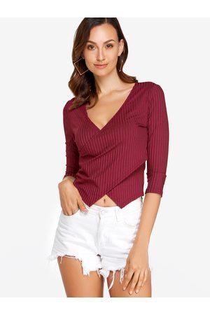 YOINS Crossed Front Design V-neck Long Sleeves T-shirts