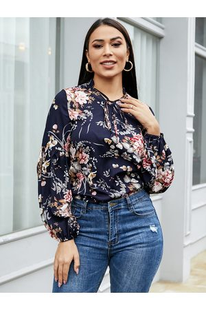 YOINS Women Blouses - Navy Bowknot Floral Crew Neck Long Sleeves Blouse