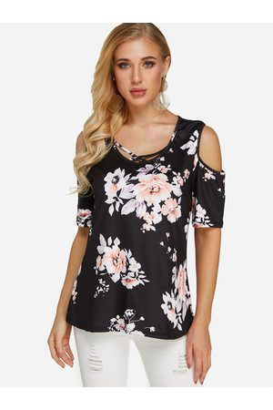 YOINS Women Short Sleeve - Criss-cross Random Floral Print Cold Shoulder Short Sleeves Blouse