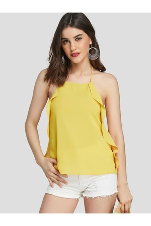 YOINS Women Halterneck Tops - Backless Design Plain Halter Sleeveless Camis