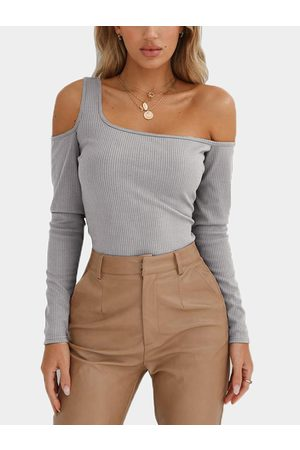 YOINS Women Long Sleeve - One Shoulder Long Sleeves Knitted T-shirt