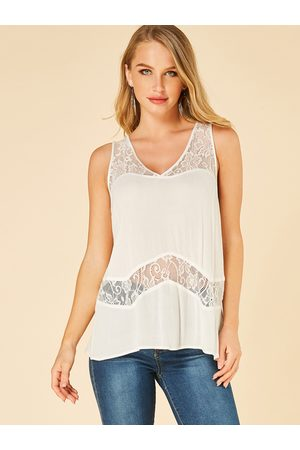 YOINS Women Tank Tops - Lace V-neck See Through Tank Top