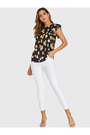 YOINS Women Blouses - Random Floral Print Ruffle Sleeves Chiffon Blouse