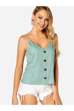 YOINS Women Tank Tops - Backless Button Design Plain V-neck Sleeveless Camis