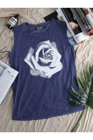 YOINS Rose Print Round Neck Tank Top