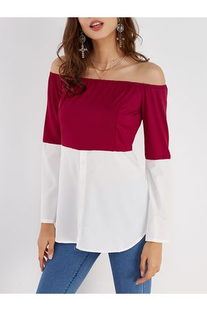 YOINS Burgundy & White Off Shoulder Long Sleeves T-shirt