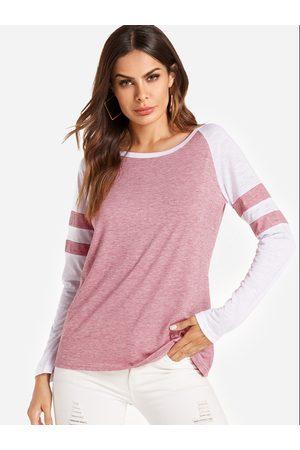 YOINS Stripe Pattern Stitching Long Sleeves T-shirt