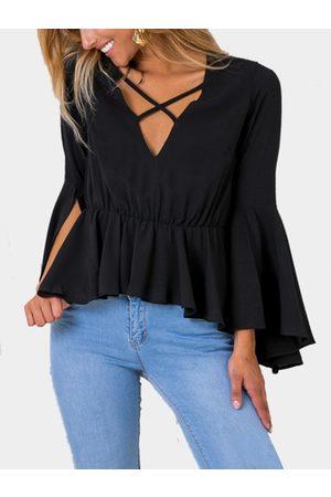 YOINS Fashion V-neck Slit Long Flared Sleeves Blouse
