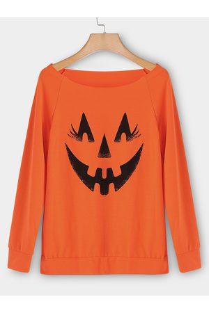 YOINS Women Long Sleeve - Pumpkin Print Round Neck Raglan Sleeves Tee