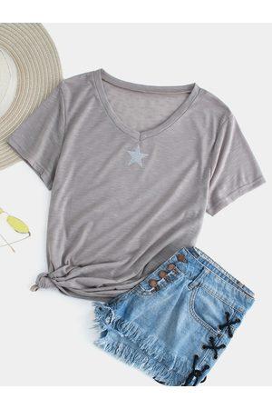 YOINS Women Short Sleeve - Gray Star Printed V-neck Short Sleeves Tee
