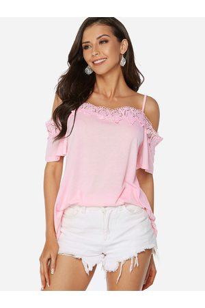 YOINS Women Blouses - Lace Trim Plain Cold Shoulder Half Sleeves Blouse