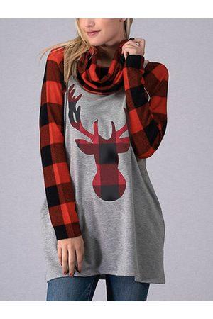 YOINS Women Sweatshirts - Color Block Check Christmas Print Cowl Neck Sweatshirt