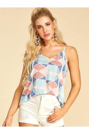 YOINS Women Camisoles - Multi Geometrical Print Spaghetti Strap V-neck Camis